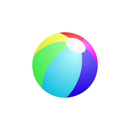 Colorful beach ball vector illustration, Yellow, Green, Red, Blue, Blue Dark, Purple Isolated In White Background. Ready For your design.