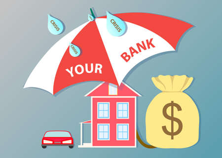 save as: Flat design for business. Your bank will save you deposits, house, money, car from crisis. Umbrella illustrated as a bank.Vector Illustration Illustration