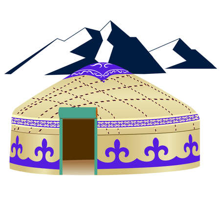 nomad: Yurt with ornaments Illustration