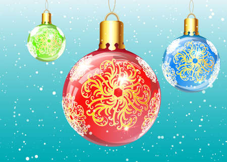 dcor: Coloured christmas balls with ornated snowflakes Illustration