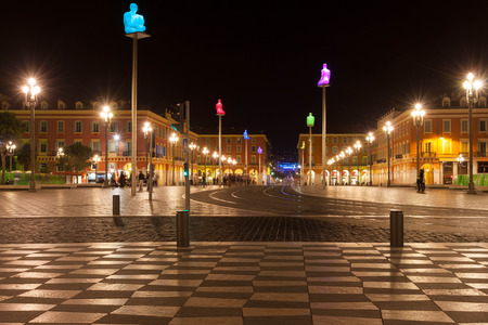 night time view place massena, Nice France Stock Photo