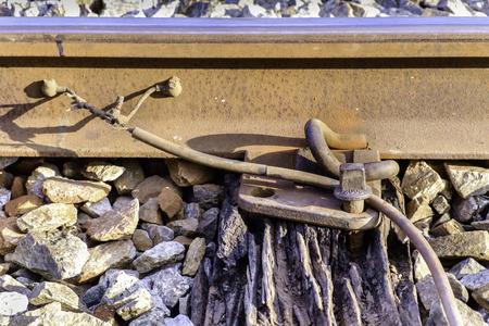 wood railway: broken wood sleeper and railway grip lock