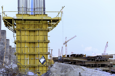 evening time view of steel formwork, construction site