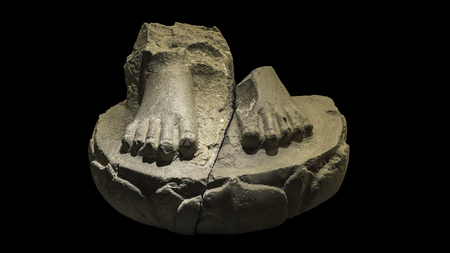 dvaravati: Stone Buddha foot image on lotus, Dvaravati style, around 7th-8th centuries, Thailand