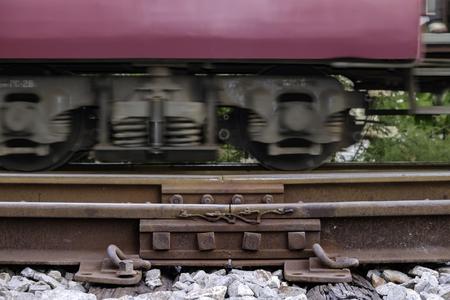 ruimte van de spoorweg voor thermische uitzetting Stockfoto
