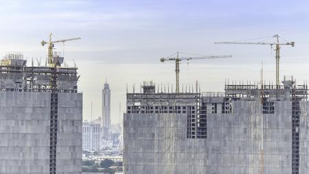 buliding: morning time of High buliding Construction site, Bangkok Thailand Stock Photo
