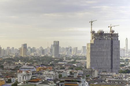 concrete commercial block: morning time of High buliding Construction site, Bangkok Thailand Stock Photo
