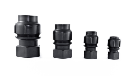 different size of Polybutylene(PB) female coupling, Grab lock Fitting Stock Photo