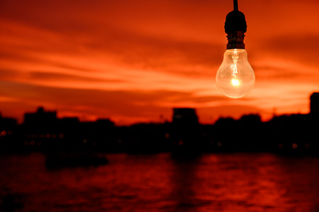 incandescent: Incandescent Lamp on sunset