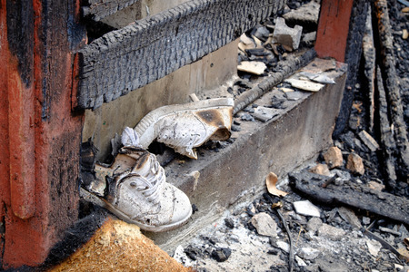 burned: Canvas shoes burned