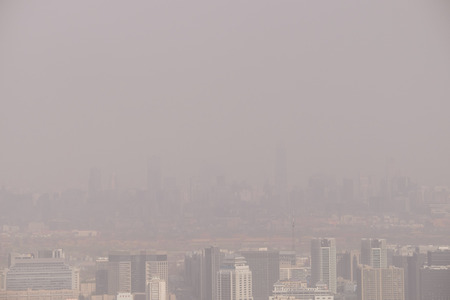 Air pollution over Beijing, China, 2015 Stock Photo