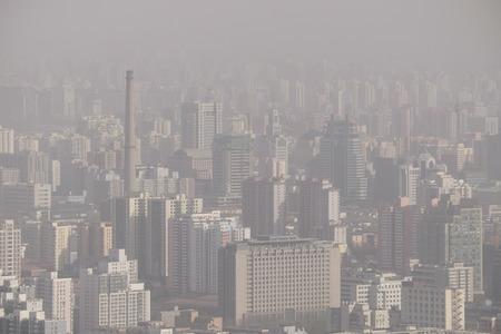 contaminacion aire: contaminación del aire sobre Beijing, China, 2015