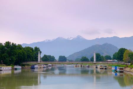 kashmir: morning time view of Jhelum river at Srinagar, kashmir, India Stock Photo