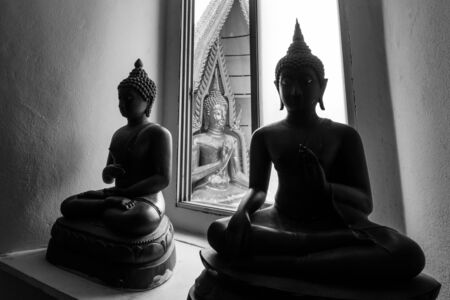 disciples: black and white of buddha image, Thailand