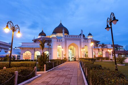 night time view of kapitan keling mosque, Penang Malaysia Stock Photo
