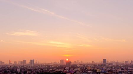 art of sky and Morning time view of Bangkok Thailand