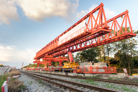 erection: erection bridge box girder Stock Photo