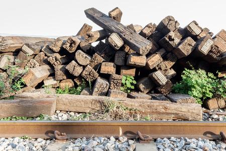 wood railroads: old wood sleeper, 1955