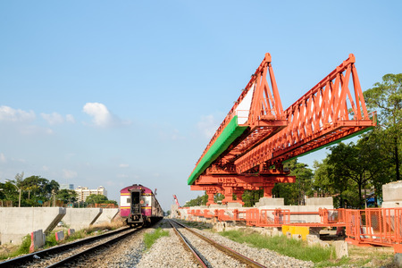 erection: erection bridge box girder along railway Stock Photo