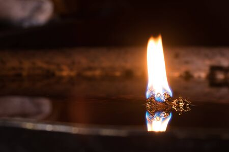 temple burn: oil lamp in India temple, many people to oil fill in the lamp because do not want flicker
