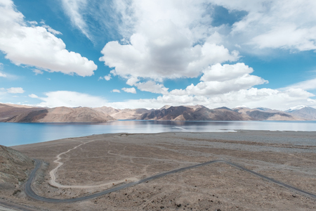 km: Pangong Lake(Tso),wide 6-7 km, long 130 km, 30% of area in India and 70 in China