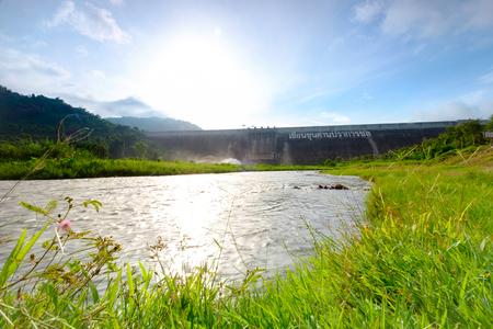 metre: Khun Dan Prakarnchon Dam, Roller Compacted Concrete or RCC Dam,  2,594 metre of long, 93 metre of high, 224 M cubic metre, since 2004, Thailand