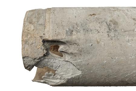 석면 시멘트 수관에 구멍, 워터 제트에 의한 직경 400 mm 스톡 콘텐츠