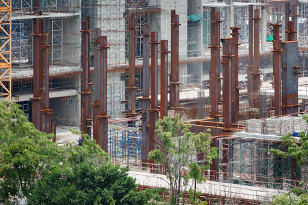 colum: many steel colum at construciton site of new government house, Thailand Stock Photo