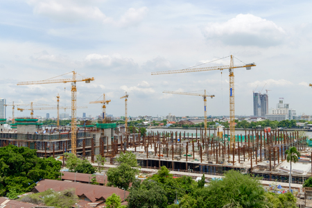 chao praya: construction site of new government house beside Chao Praya river, Thailand