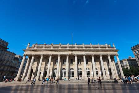 nicknamed: view of place Grand theatre, nicknamed Louis twelve columns, Bordeaux, France Editorial