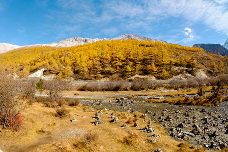 signify: Yanding Nature Reserve, Chenrezig(Tibet) or Xiannairi(China) is signify Compassion, 6032 msl, Jampelyang(Tibet)  or YangmalyongChina) is signify wisdom, 5958 msl, Channa Dorje(Tibet) or Xianuoduoji(China) is signify power, 5958 msl, Tibent call this land  Stock Photo