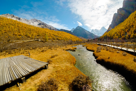 Yanding Nature Reserve, Chenrezig(Tibet) or Xiannairi(China) is signify Compassion, 6032 msl, Jampelyang(Tibet)  or YangmalyongChina) is signify wisdom, 5958 msl, Channa Dorje(Tibet) or Xianuoduoji(China) is signify power, 5958 msl, Tibent call this land  Stock Photo