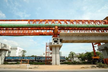 erection: erection bridge box girder Stock Photo
