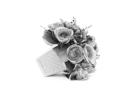 stage props: black and white of flowers craft in vase