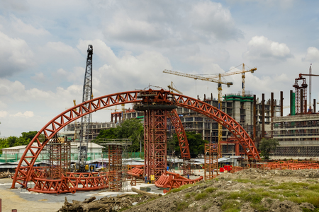 steel roof truss at construction site of new government house , Thailand Stock Photo