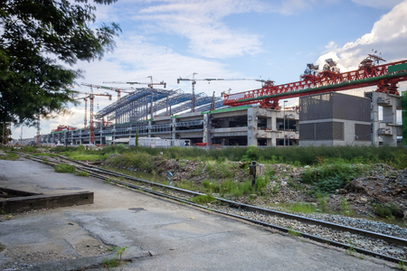 train station construction site, Bangkok, Thailand, erection bridge box girder