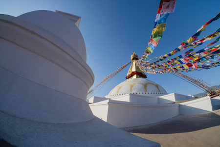 the great Boudha stupa, site in 1979, 100 ft diameter, 1 hector width and 141.16 ft high, Kathmandu, Nepal