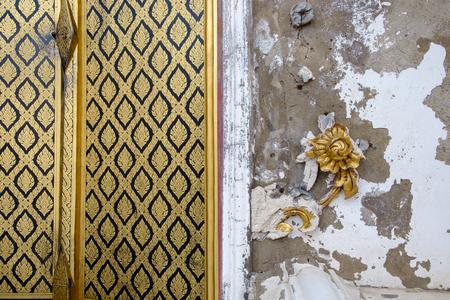 Thai art on the wall is broken