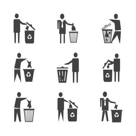 Drop your used tissue in dustbin vector icon