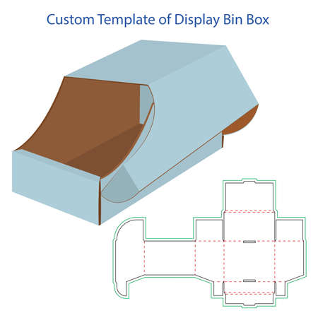 Custom template of display bin box. product packaging display bin box for auto parts. Ilustracja