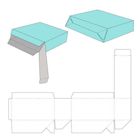 Tuck top auto bottom box dieline template Vector Illustratie
