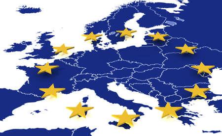 eec: Gold eu stars on blue europe Stock Photo