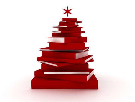 Red books christmas tree Stock Photo