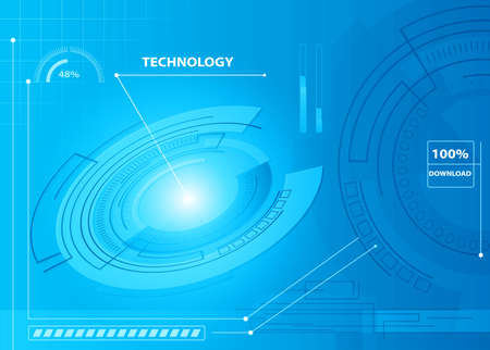 version: Abstract technology contour object. Light futuristic concept, digital, round composition, blue. Vector version