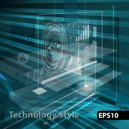Abstract technology contour objects.Financial business presentation. Light futuristic concept, digital light blue. Vector modern background