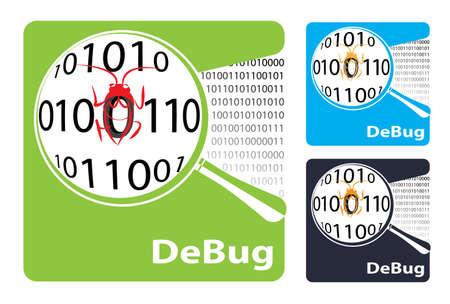 debug: Symbol or icon debug Search virus and bug.