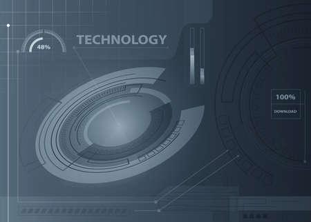 dark blue: Abstract technology contour object. Light futuristic concept, digital, round composition, dark blue. Vector dark background