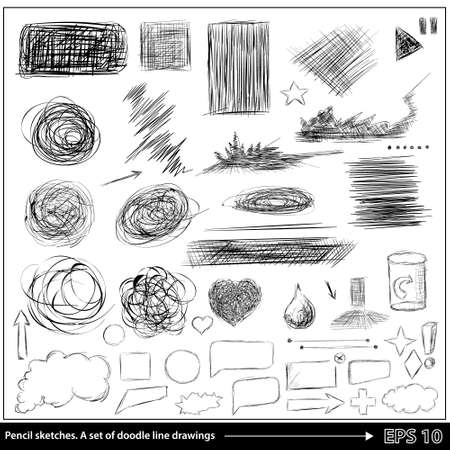 pencil drawn: Pencil sketches.Hand drawn scribble shapes A set of doodle line drawings.  Illustration