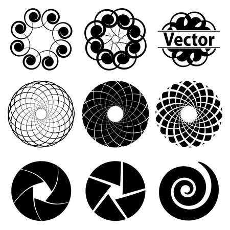 diaframma: Set fractal and swirl shape element. Vintage monochrome different objects.  decorative sample. diaphragm