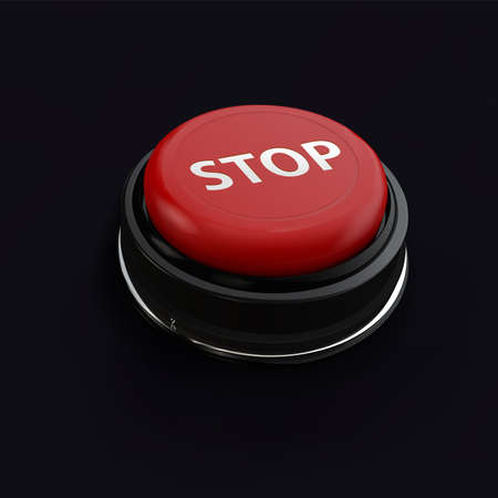 reflect: Red realistic button stop. Can use for business. Isolate technology button with reflect.